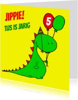 Verjaardagskaarten - draak dinosaurus jarig
