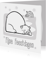 Kleurplaat kaarten - Een kerstkaart met ijsbeer om in te kleuren.