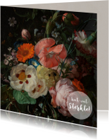 Sterkte kaarten - Een klassieke sterkte kaart met stijlvol bloemenschilderij