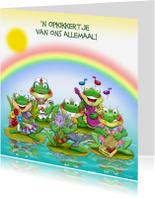 Beterschapskaarten - Een opkikkertje kikkers met regenboog