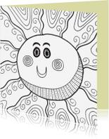 Kleurplaat kaarten - Een vrolijke zon
