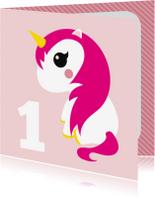 Verjaardagskaarten - Eenhoorn verjaardagskaart 1 jaar