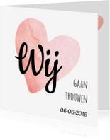 Trouwkaarten - Eenvoudige trouwkaart hart