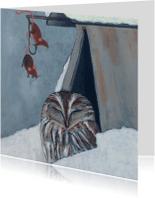 Kerstkaarten - Engelse kerstkaart met uil
