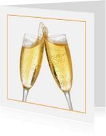 Uitnodigingen - Feestkaart champagne