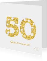 Felicitatiekaarten - Felicitatie 50 hartjes sierlijk