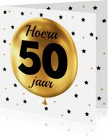 Verjaardagskaarten - Felicitatie 50 jaar Ballon goud