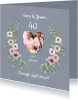 Felicitatiekaarten - Felicitatie annemoon en eucalyptustakken