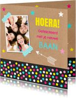 Felicitatiekaarten - Felicitatie baan foto sterren confetti