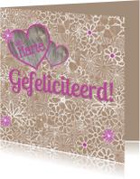 Verjaardagskaarten - Felicitatie bloemen hart