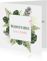 Felicitatiekaarten - Felicitatie - Botanisch bladeren meisje