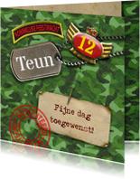 Verjaardagskaarten - felicitatie camouflage leger groen