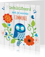 Felicitatiekaarten - Felicitatie communie uiltje blauw