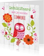 Felicitatiekaarten - Felicitatie communie uiltje bloemen