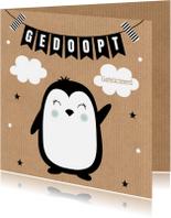 Felicitatiekaarten - Felicitatie doop pinguïn kraft slinger