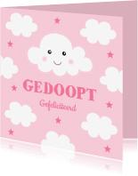 Felicitatiekaarten - Felicitatie doop wolkjes roze - LB