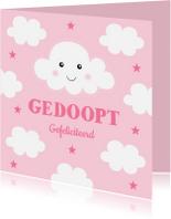 Felicitatiekaarten - Felicitatie doop wolkjes roze