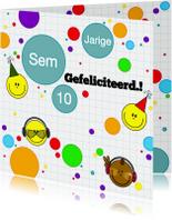 Verjaardagskaarten - felicitatie game smiley jongen
