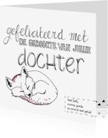 Felicitatiekaarten - Felicitatie Geboorte Dochter Vosje