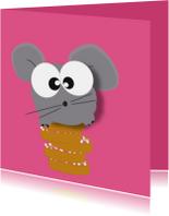 Felicitatiekaarten - Felicitatie geboorte meisje - beschuit met muis - mocards