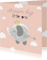 Felicitatiekaarten - Felicitatie geboorte Meisje - Dream Big Little One
