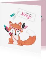 Felicitatiekaarten - Felicitatie geboorte meisje vosje