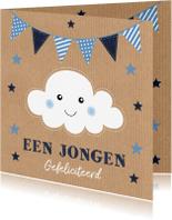Felicitatiekaarten - Felicitatie geboorte wolk slinger Kraft jongen