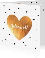 Felicitatiekaarten - Felicitatie -Hart goud, stippen