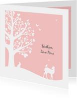 Felicitatiekaarten - Felicitatie - Hartjesboom meisje silhouet