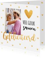 Felicitatiekaarten - Felicitatie huwelijk foto hartjes goud