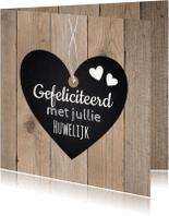 Felicitatiekaarten - Felicitatie huwelijk hartje houtlook