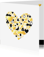 Felicitatiekaarten - Felicitatie - Huwelijk silhouet hart met goud