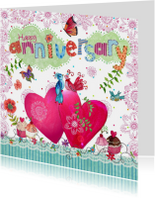 Felicitatiekaarten - Felicitatie Huwelijksjubileum Hartjes