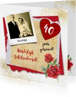 Felicitatiekaarten - Felicitatie huwelijksjubileum roos