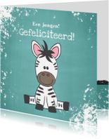 Felicitatie kaartje met een illustratie van een lieve zebra