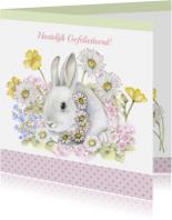 Dierenkaarten - Felicitatie konijn met bloemen