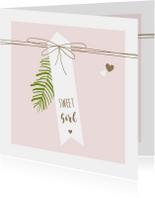 Felicitatiekaarten - Felicitatie - Label, lijnen, meisjes, takje