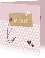 Felicitatiekaarten - Felicitatie -Label roze driehoek
