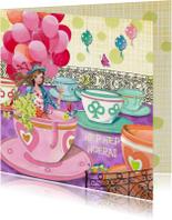 Verjaardagskaarten - Felicitatie Meisje Ballonnen