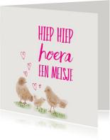 Felicitatiekaarten - Felicitatie Meisje vogeltjes