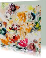 Felicitatiekaarten - Felicitatie met bloemen schilderkunst