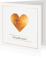 Felicitatiekaarten - Felicitatie - Origami hart goud
