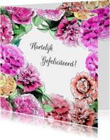 Felicitatiekaarten - Felicitatie pioenbloemen