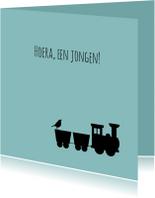 Felicitatiekaarten - Felicitatie -Silhouet trein zoon