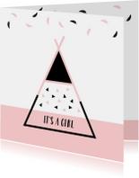 Felicitatiekaarten - Felicitatie - Tipi met veertjes en driehoekjes