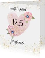 Felicitatiekaarten - Felicitatie trouwdag hart bloeme