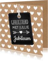 Felicitatiekaarten - Felicitatie trouwdag label hartjes kraft
