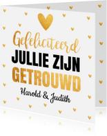 Felicitatiekaarten - Felicitatie trouwdag typografie gouden hartjes
