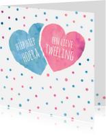 Felicitatiekaarten - Felicitatie tweeling met hartjes