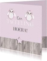 Felicitatiekaarten - felicitatie tweeling uiltje